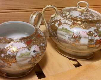 Free Not Quite Perfect Teapot With Purchase of Stunning Gold Nippon Moriage Creamer and Lidded Sugar Bowl