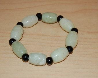 Light Green Jade Hand Carved Long Beads Bracelet,Elastic,Easy Fits,Very Nice