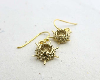 Plankton Spumellaria Earrings-a spiky Radiolarian-Marine Biology - Micropaleontology-Science Jewelry