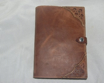 leather journal cover . bullhide. hand stitched