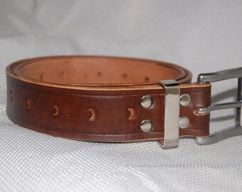 leather belt hand made 100% leather.Tooled.