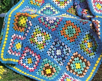 Vintage Granny Squares Afghan Crochet Pattern Cross Cottage Squares Afghan Blanket Crochet Pattern PDF Instant Download