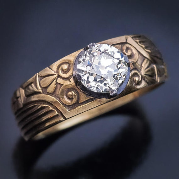 Antique Russian 123 Ct Diamond Solitaire Mens Ring