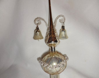 Christmas Tree Topper Vintage wire wrapped with bells. Germany