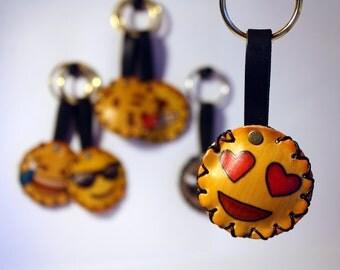 Emoji soft leather keychain - Portachiave in cuoio morbido con Emoji