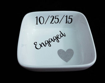Square white ring dish with glitter heart and customized with engagement date