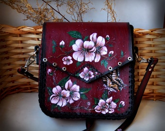 Handmade painted shoulder leather bag Cherry flowers