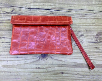 Sale!!! Red leather purse, Wallet for women, Leather women's wristlet purse, Leather clutch, wristlet wallet, Magnets wallet