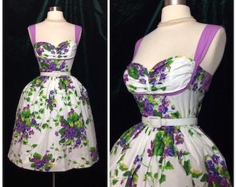 Designer Floral violets Sundress 1950's inspired Betsey Johnson dress Tea Party Garden
