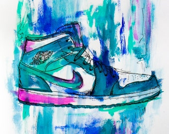 Nike Shoe Acrylic Painting Abstract Print
