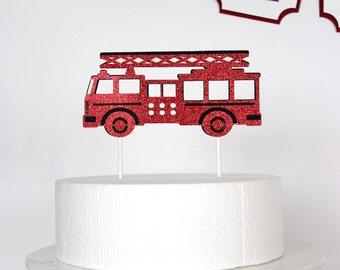 Firetruck Cake Topper // Fire truck birthday party  // sound the alarm // cake topper// Birthday Party // The CELEBRATE Crate - CUSTOMIZABLE