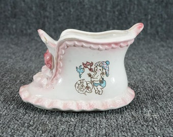 "Vintage Relpo 4 3/4"" Frilled Edge Ceramic Baby Shoe Bootie Planter"