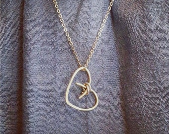 Heart Pendant, Gold Heart Necklace, Silver Heart Necklace, Hammered Heart Necklace