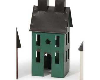 Miniature Painted Tin House - Green - 3 x 2.5 x 6 inches for Fairy gardens,dollhouse.train,model rr,container garden