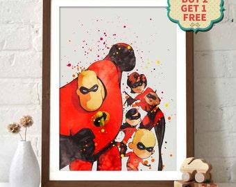 Pixar Movie Poster - The Incredibles Watercolor Poster