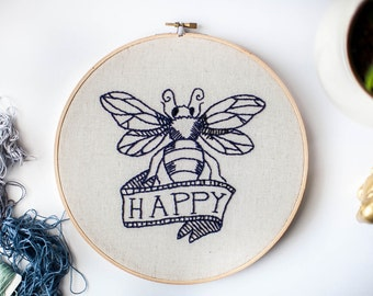 """Hoop Embroidery • 9"""" Round Be Happy in Navy [One-of-a-Kind]"""