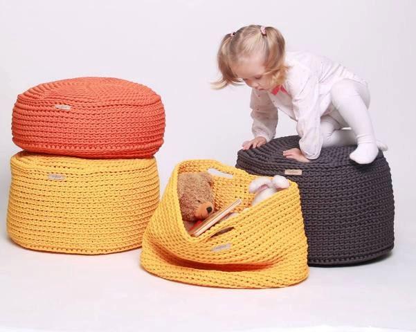 Crocheted Midi Size Pouf Floor Cushion Hypoalergic Pouf Rope