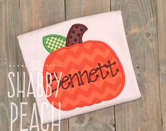 Pumpkin Personalized Onesie or Shirt, Boy's Pumpkin Shirt, Pumpkin Applique