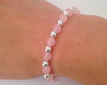 Rose Quartz bracelet with Sterling silver, pink and silver bracelet, gift for her, girlfriend gift, pink bracelet, wedding jewellery, sister