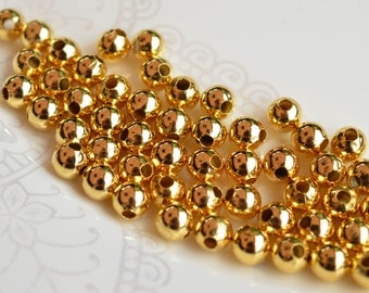 35 pcs Gold Plated Metal Beads, Gold Tone Spacers, Gold Plated Round 6mm
