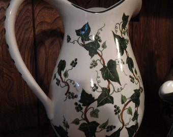 Large vintage white ivy pitcher - hand painted with ivy vine, folk art, americana