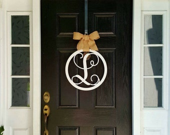 Wooden Circle Monogram - Circle Initial - Wooden Circle Door Hanger - Wooden Monogram Circle - Wooden Monogram Door - Wooden door hanger