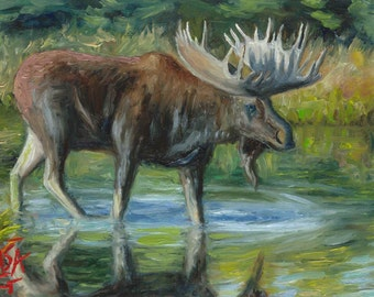 Moose Painting, oil painting, wildlife painting, 5x7 inches, miniature art