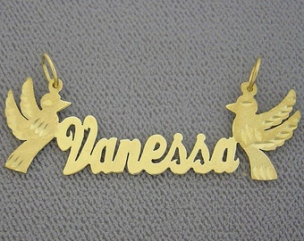 10K or 14K Yellow or White Solid Gold Personalized Name Necklace 2 Birds Laser Cut NN53