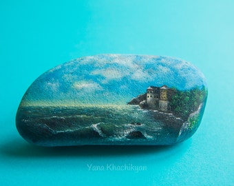Seascape (Original oil painting on a stone). Free shipping