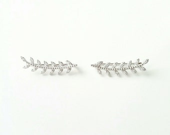 Ear Cuff Silver 925 - Contours of lobed leaves of Laurel, rising Silver 925/000 - earrings - lobed outline 925 silver