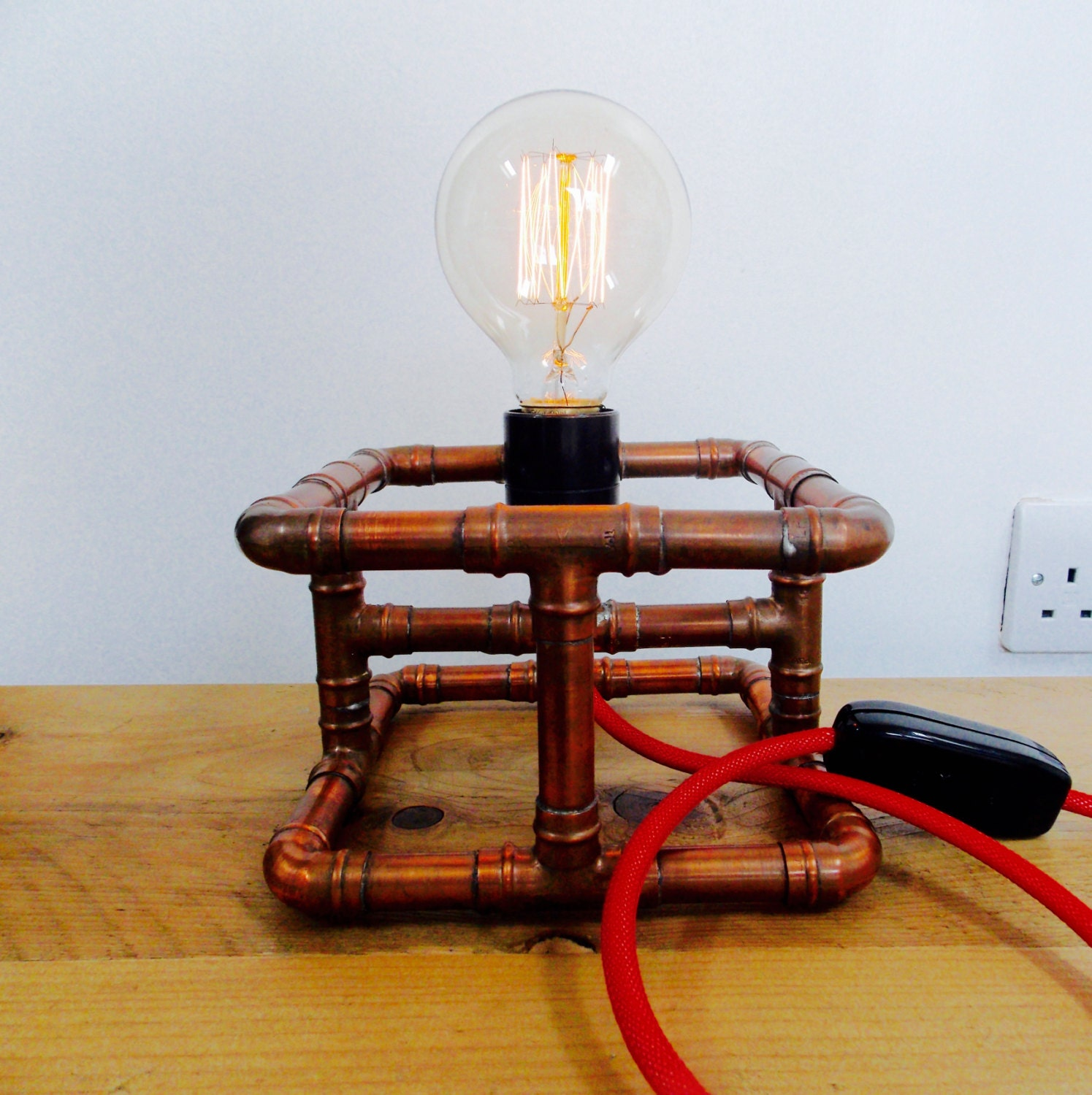 Otto Copper Industrial Table Desk Lamp Light In Its Raw Copper
