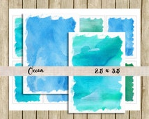 Watercolor digital paper backgrounds printable tag ATC instant download blue green ocean for scrapbooks journals and craft