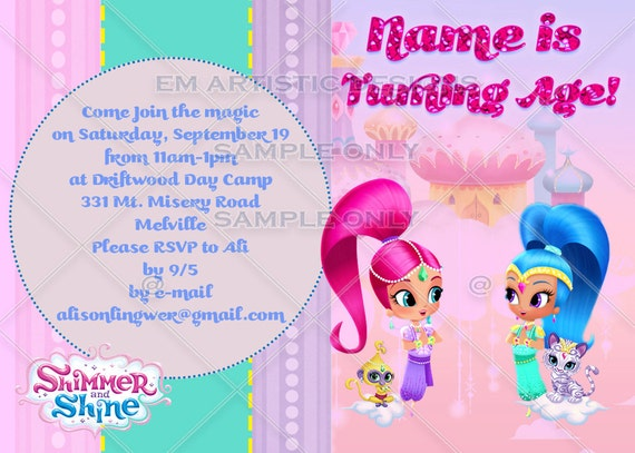 individual shimmer and shine birthday party invitations, Birthday card