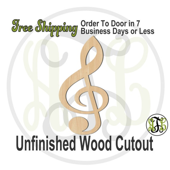Treble Clef - 300119- Cutout, unfinished, wood cutout, wood craft, laser cut wood, wood cut out, Door Hanger, wooden sign, wall art