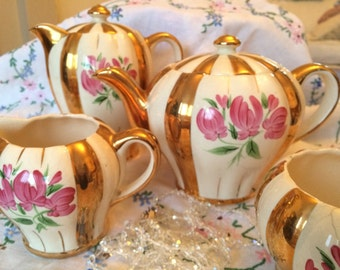 Vintage Sudlow Gold Striped Teaset with Pink Tulips