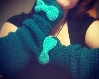 Crochet Slouchy Arm Warmers with Bows
