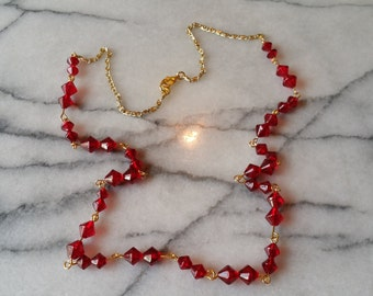 Pretty Gold with Red Raspberry Czech Glass Beads Handmade Hand Wire Wrapped Necklace Handmade
