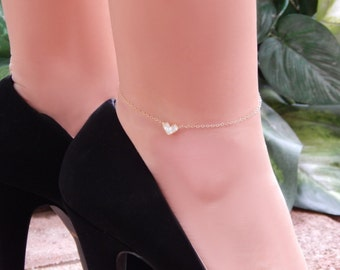 CZ Heart Ankle Bracelet, Diamond Anklet, Clear Crystal Cubic Zirconia Heart • Gift for Her