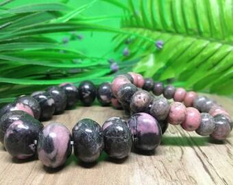 One (1) Set of 2 Rhodonite Fancy Bracelets for Chakra Balancing, Crystal Healing, Healing Bracelet