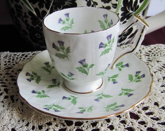 Free Shipping Aynsley Scottish Thistles Bone China Demi Tasse Tea Cup and Saucer