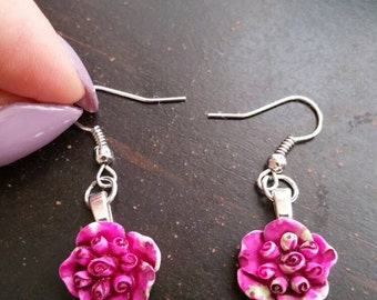 Hot Pink Begonia Earrings, Begonia Earrings