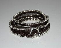 uno de 50 style bracelet, Multilayer bracelet,wrapped bracelet, brown and black leather,zamak silver color beads,women beads bracelet.