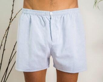 Boxer Shorts for Men | Fine Light Blue | Handmade, Pure Cotton, Skin Friendly & Ultra-Soft Men's Boxers | Khasto - the cotton cashmere