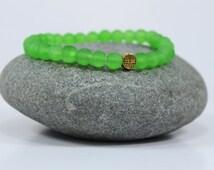 Green Beach Glass, Prosperity Abundance Bracelet, success gemstone bracelet, energy healing bracelet,japa mala,heart chakra, peridot