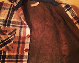 Vintage Wool Shirt Jacket with Fleece Lining