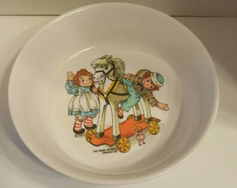 ZERO SHIPPING! Vintage Raggedy Ann & Andy Oneida Deluxe Melamine Children's Cereal Bowl 1969