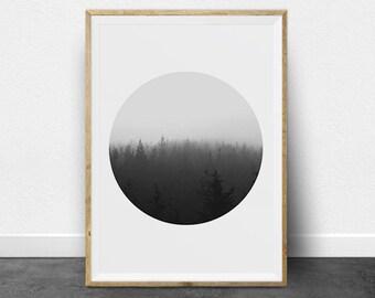 Black and White Print Set, Black and White Photography, Printable Art, Forest Print, Trees, Art Set, Circle Print, Minimalist Art, Dip Dye