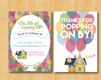 UP Themed Birthday Party Invitation and Thank You Cards Package DIGITAL Printable Download