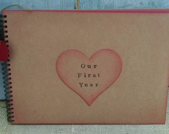 A4 rustic scrapbook 'Our First Year' blank raspberry red pages