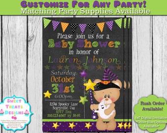 Halloween Baby Shower Invitation, Halloween Teddy Bear Baby Shower Invitation, Baby Shower Invite, Chalkboard Baby Shower Invitation